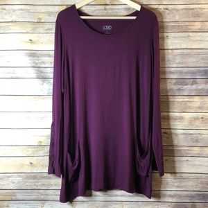 LOGO by Lori Goldstein Purple Lace Sleeve